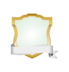 Shield with ribbon icon Protection design vector image