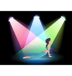 A lady exercising in the middle of the stage vector image vector image