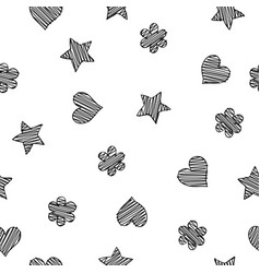 black scribble shapes on white background vector image vector image