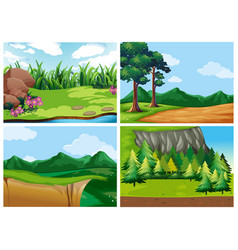 four forest scenes at daytime vector image