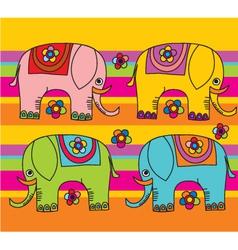 funny color elephants vector image vector image