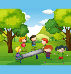 happy children playing seesaw in park vector image vector image