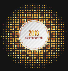 happy new year 2018 with golden disco lights on vector image