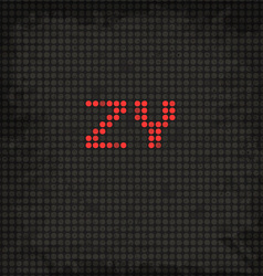 Led display scoreboard dot grunge font from z to y vector
