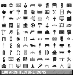100 architecture icons set simple style vector