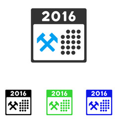 2016 working days flat icon vector