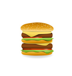 3d double cheeseburger side view vector image