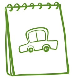 A green notebook with a car at the cover page vector image