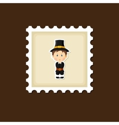 American Pilgrim children stamp Thanksgiving day vector