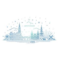Amsterdam travel landmark historical building vector