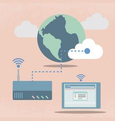 Big data cloud computing concept flat design vector