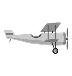 Biplane icon gray monochrome style vector