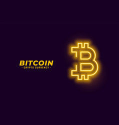 Bitcoin symbol in neon glowing style vector
