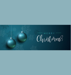 blue christmas luxury bauble ornament banner vector image