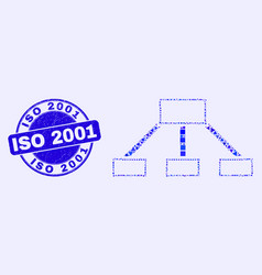 Blue grunge iso 2001 stamp seal and hierarchy vector