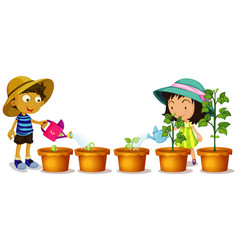Boy and girl watering plants in garden vector