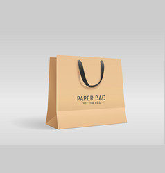 brown paper bag with black cloth handle design vector image