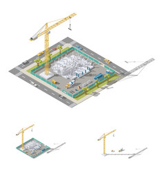 building a house pouring columns into formwork vector image vector image