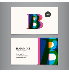 Business card template letter B vector