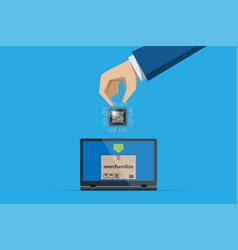 Business hand insert qr code chip processor vector