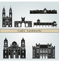 Cadiz landmarks and monuments vector image