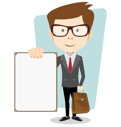 Cartoon Businessman Holding Blank Message Board vector image