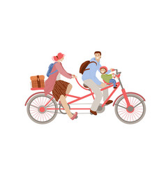 cartoon happy family riding vector image