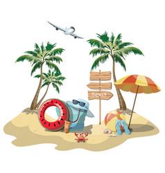 Cartoon island in sea with luggage vector