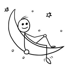 Cartoon of man sitting on the crescent moon vector