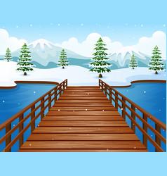 cartoon winter landscape wi vector image