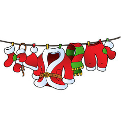 Christmas costume on clothesline vector