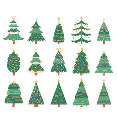 christmas doodle trees doodle xmas fir trees vector image