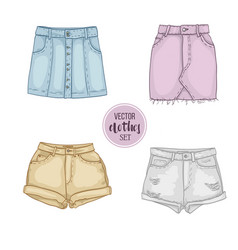 Color set of woman casual clothes vector
