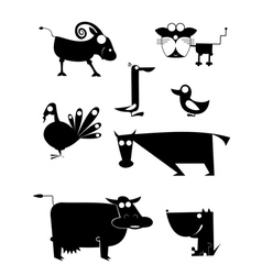 Comic farm animal silhouettes vector image
