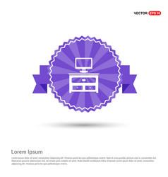 Computer table icon - purple ribbon banner vector