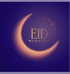 Creative moon made with particles eid background vector