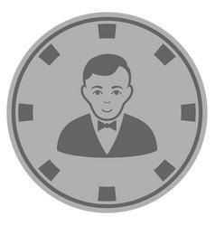 Croupier dealer silver casino chip vector