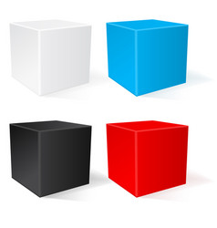 Cube 3d colored geometric shapes vector