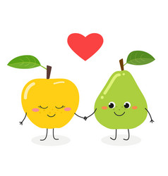 cute cartoon pear and apple vector image