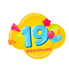 cute cartoon template 19 years anniversary vector image