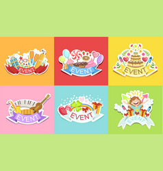 cute holiday stickers set colorful badges for vector image