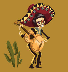 day of the dead man skeleton poster vector image