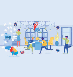 deadline concept chaos at office people hurry up vector image