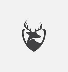 Deer shield icon logo design head vector