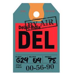 Delhi airport luggage tag vector