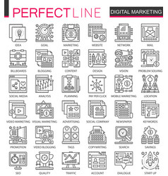 Digital marketing outline mini concept symbols vector