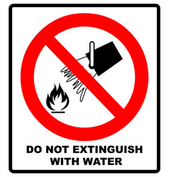 Do not extinguish with water prohibition sign vector