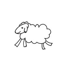 Doodle sheep animal icon vector