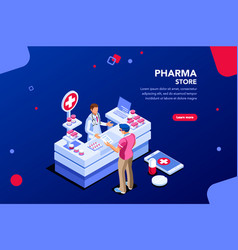 drugstore with patient and pharmacist vector image