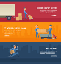 employees of the service delivery horizontal vector image